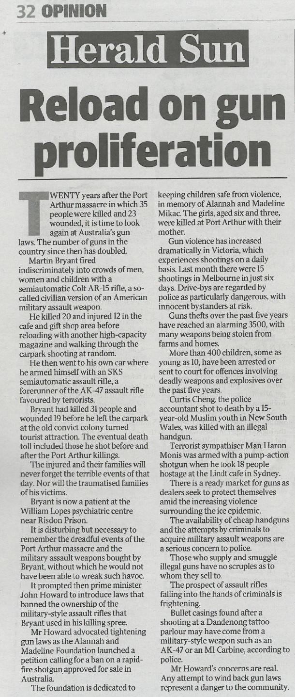 Herald Sun - gun - editorial on Adler 8 April 2016