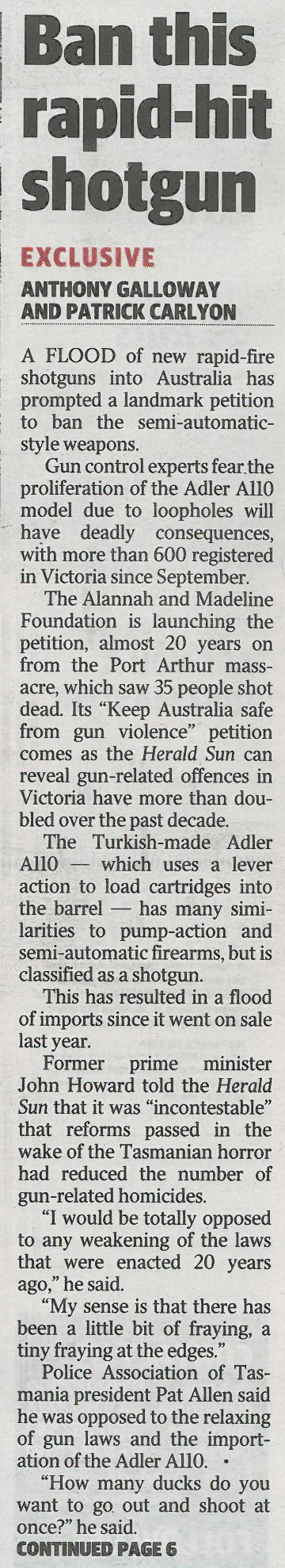Herald Sun - gun - front page on Adler 8 April 2016