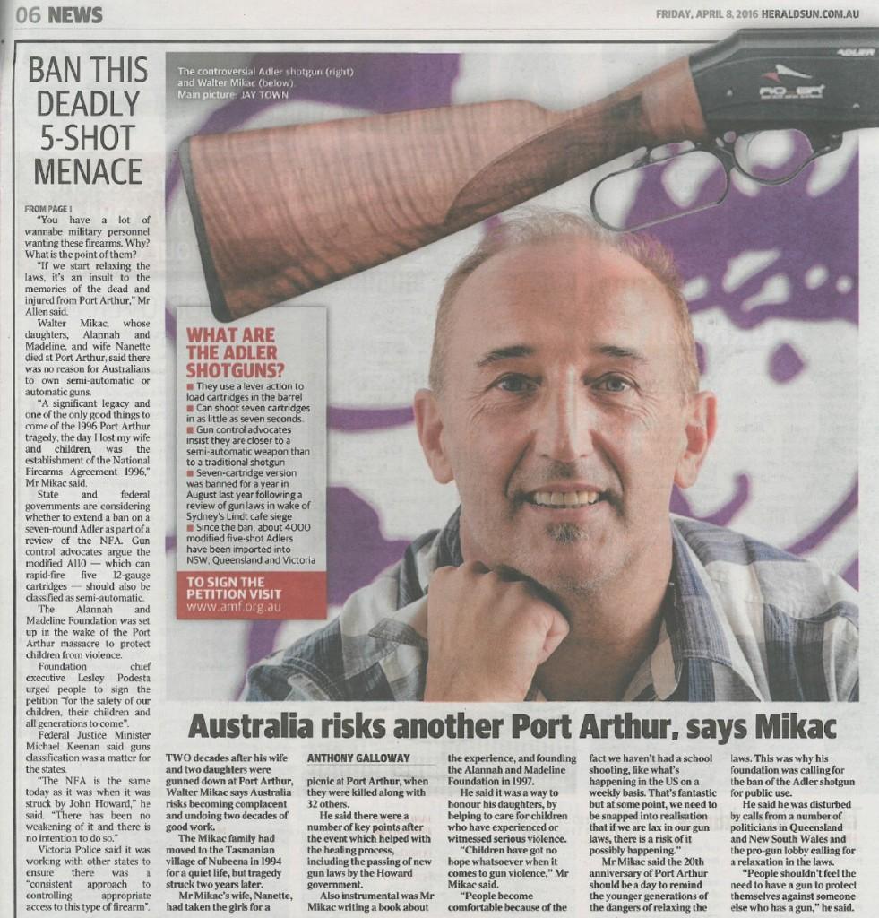 Herald Sun - gun - p6 Adler 8 April 2016