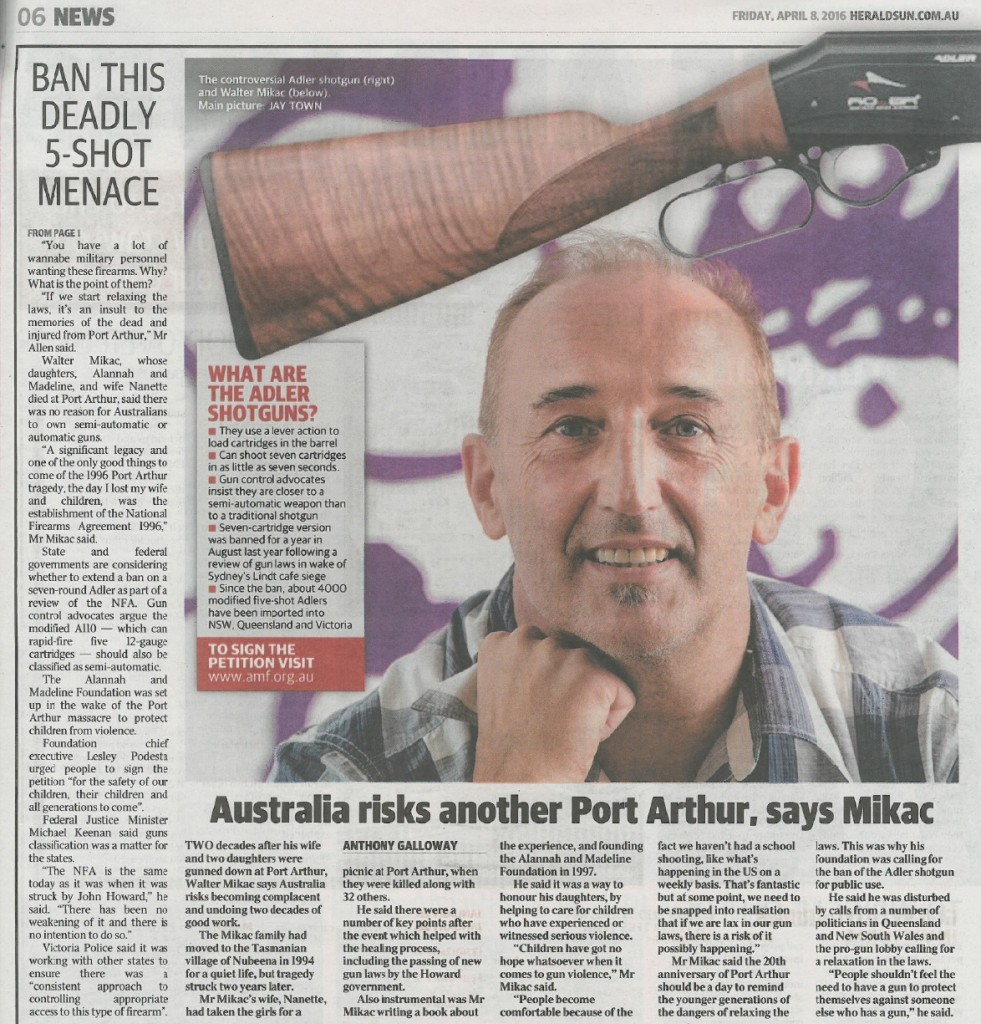 Herald Sun - gun - p6 Adler 8 April 2016