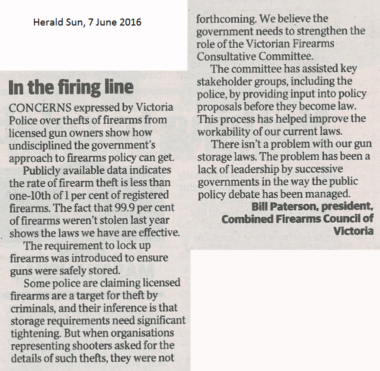 Herald Sun published Letter to Editor re gun thefts 07 06 2016